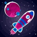 En klistermärke av en purpurfärgad raket med blåa band och en blå hyttventil Arkivfoton