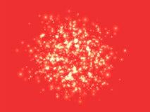En klunga av glödande ljus av olika format suddigheta lampor Stadsljusen på natten på röd bakgrund vektor stock illustrationer