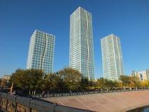 En klunga av torn i Astana/Kasakhstan Arkivfoton