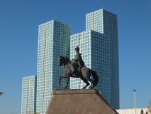 En klunga av torn i Astana/Kasakhstan Royaltyfria Bilder