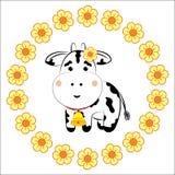 En ko i en blommakrans vektor illustrationer