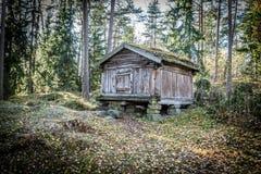 En koja i skog, gammal koja och tappningkoja royaltyfria bilder