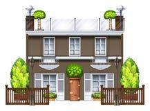 En kommersiell byggnad med ett trevligt tak royaltyfri illustrationer