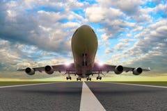 En kommersiell flygplanstart/landning på en landningsbana vektor illustrationer