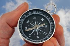 En kompass i handen i närbild fotografering för bildbyråer