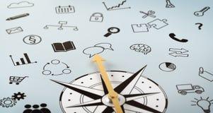 En kompass med klottrade symboler vektor illustrationer