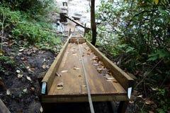 En konstruktionsglidbana i en skog Royaltyfri Bild