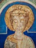 En konung i trädet av Jesse, roman freskomålning från det 12th århundradet Arkivbilder