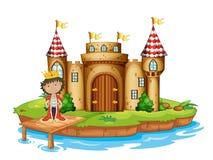 En konung nära slotten stock illustrationer