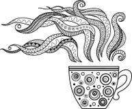En kopp av örtte och kaffe för en bra dag Färgläggningbok för vuxen människa royaltyfri illustrationer