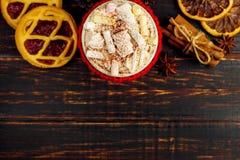 En kopp av den varma drinken med piskat kräm, marshmallower och pulver, i en stucken räkning och hemlagade kakor, kanel, jul arkivbild