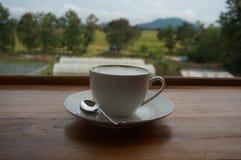 En kopp av grönt te på trätabellen Royaltyfri Foto