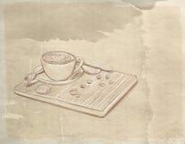 En kopp av kaffe med kexar vektor illustrationer