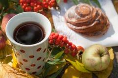 En kopp av starkt svart te, den söta bullen med russin, askabär, äpplen och färgrika höstsidor på en sten ytbehandlar Royaltyfri Bild