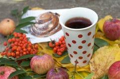 En kopp av starkt svart te, den söta bullen med russin, askabär, äpplen och färgrika höstsidor på en sten ytbehandlar Arkivbilder