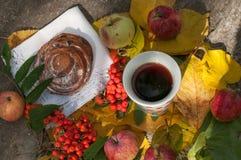 En kopp av starkt svart te, den söta bullen med russin, askabär, äpplen och färgrika höstsidor på en sten ytbehandlar Royaltyfria Bilder