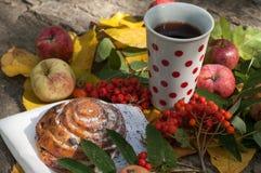 En kopp av starkt svart te, den söta bullen med russin, askabär, äpplen och färgrika höstsidor på en sten ytbehandlar Arkivbild