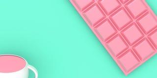 En kopp av utrymme för kopia för illustration för bakgrund 3D för drink och för choklad pastellfärgat royaltyfri illustrationer