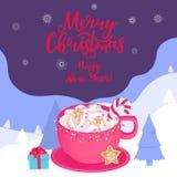 En kopp av varm kakao med godisen dekoreras med en girland för ligganderussia för 33c januari ural vinter temperatur Glad jul och vektor illustrationer