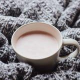 En kopp av varm kakao med mjölkar på den grå ull stack plädet Hem- cosiness Top beskådar arkivbilder