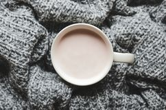 En kopp av varm kakao med mjölkar på den grå ull stack plädet Hem- cosiness Top beskådar arkivfoton