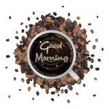 En kopp av varmt kaffe med ord för bra morgon Arkivfoto