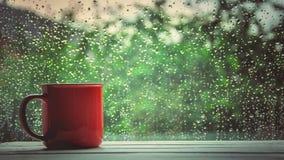 En kopp av varmt te i bakgrundsregnet utanför fönstret royaltyfri foto