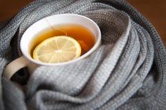 En kopp av varmt te med citronen Royaltyfria Bilder