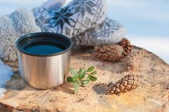 En kopp från en termos med te på en stubbe i en skog Royaltyfri Bild