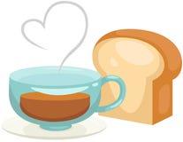 En kopp kaffe med bröd stock illustrationer