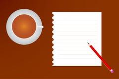 En kopp kaffe och en anteckningsbok Fotografering för Bildbyråer