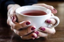 En kopp te i hand Royaltyfri Foto