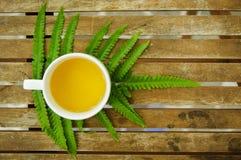 En kopp te med det gröna bladet på trätabellen i trädgården Royaltyfri Foto