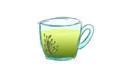 En kopp te med rosmarin Arkivfoto