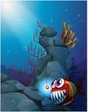En korallrev under havet med en piranha Arkivbilder