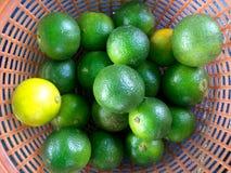 En korg av limefrukter royaltyfri fotografi