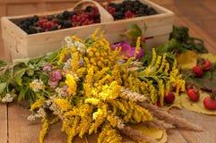 En korg som fylldes med mogna bär, och en bukett av sparade blommor på en träyttersida dekorerade med höfter och höstsidor Royaltyfria Bilder