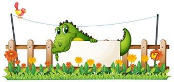 En krokodil i staketet Royaltyfria Foton