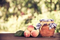 En krus av hemlagat driftstopp och saftiga mogna aprikors på tabellen säsongsbetonad avskild white för begrepp kopiera avstånd La Fotografering för Bildbyråer