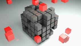 En kubikform som utgöras med många små kubikdelar