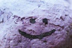 En kulör sten med en målad smiley Garnering från en sten Fotografering för Bildbyråer