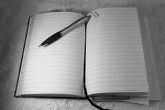En kulspetspennablyertspenna ligger överst av en öppnad dagbokbok arkivfoto