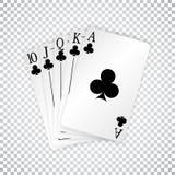 En kunglig rak spolning som spelar kortpokerhanden i klubbor vektor illustrationer