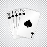 En kunglig rak spolning som spelar kortpokerhanden i spadar vektor illustrationer