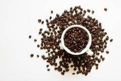 En kupa med kaffebönor Royaltyfria Foton