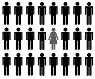 En kvinna bland pictogram för många män stock illustrationer