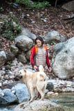 En kvinna g?r med tv? Caucasian herdehundkappl?pning i skogen arkivbild