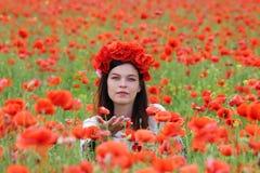 En kvinna i blommor för vallmofältplockning Royaltyfria Bilder