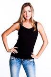 En kvinna i en svart t-shirt royaltyfria foton