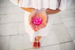 En kvinna i en vit klänning som rymmer en blomma Arkivfoton